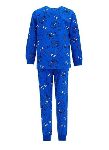 DeFacto Erkek Çocuk Baskı Desenli Uzun Kol Pijama Takım Mavi